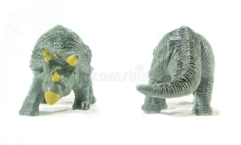 Triceratopsleksakframdel och baksida som isoleras på vit bakgrund royaltyfri fotografi