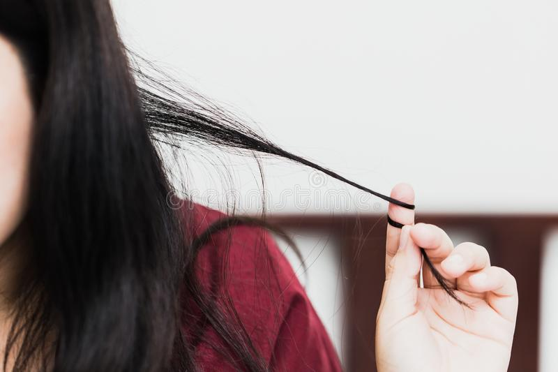 Trichotillomania or hair pulling disorder in mental health problem stock photography