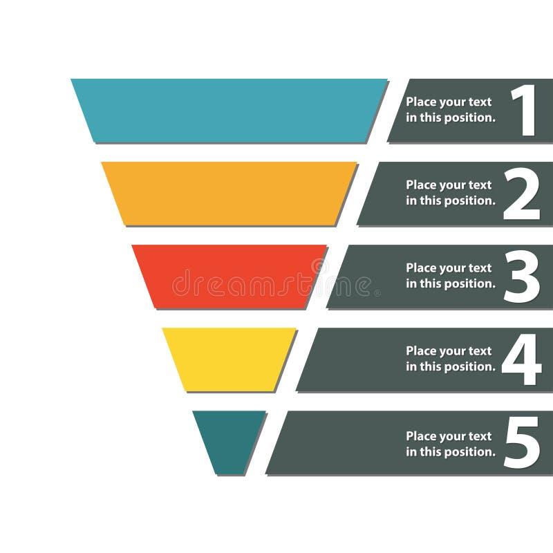Trichtersymbol Infographic oder Webdesignelement Schablone für das Vermarkten, Umwandlung oder Verkäufe Bunte vektorabbildung lizenzfreie abbildung