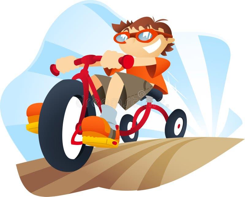 Triciclo da equitação do rapaz pequeno ilustração royalty free