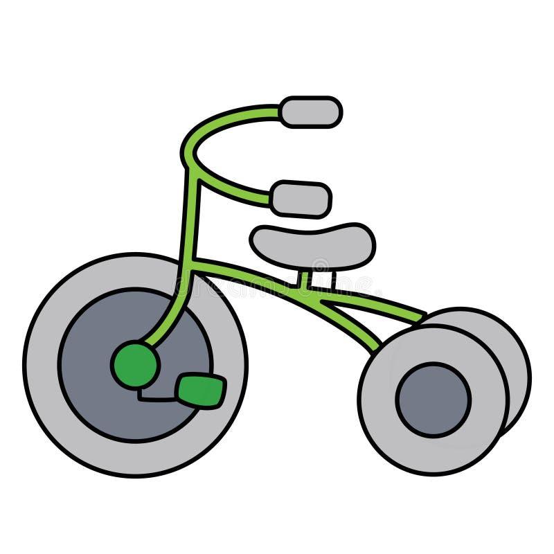 Triciclo simple linear separado en el espacio blanco stock de ilustración