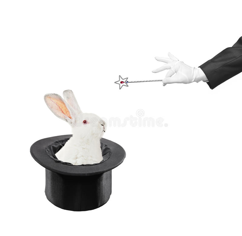 Trick. A view of a rabbit in a hat isolated on white background stock images