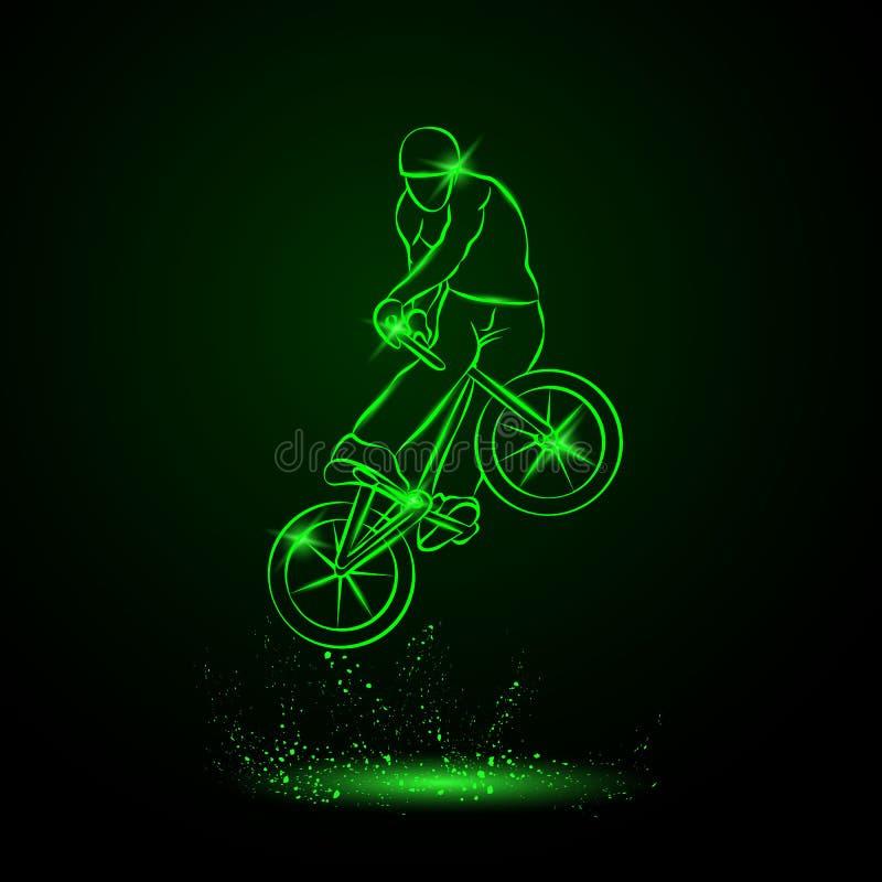 Trick on the BMX bike. Vector neon illustration. royalty free illustration
