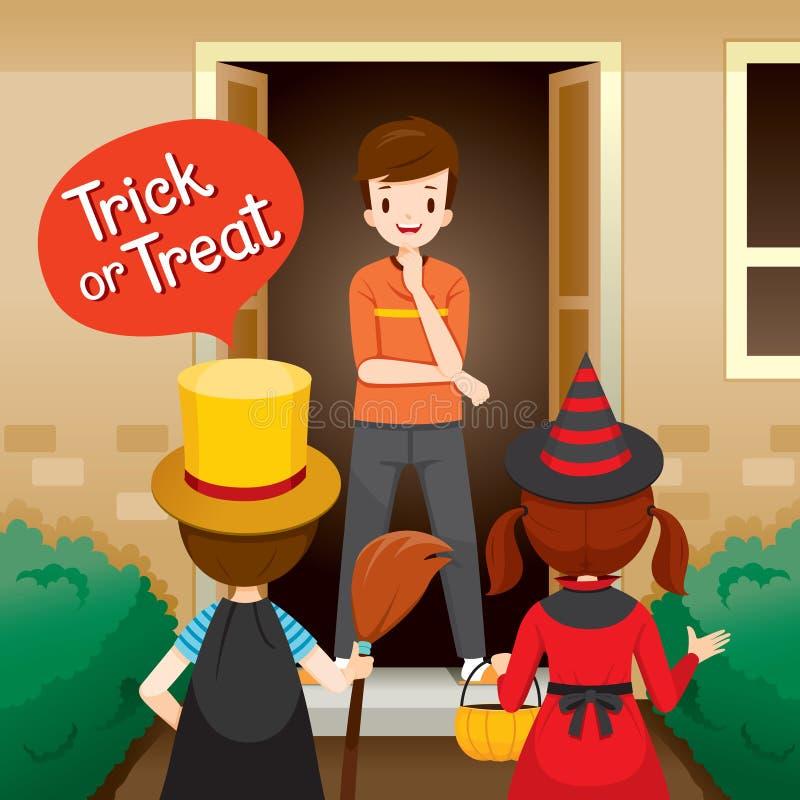 Trick eller fest, barn och öppen dörr för man royaltyfri illustrationer
