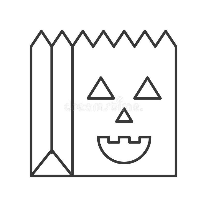 Trick- eller festpåse med den kusliga framsidan, släkt fördjupningou för allhelgonaafton stock illustrationer