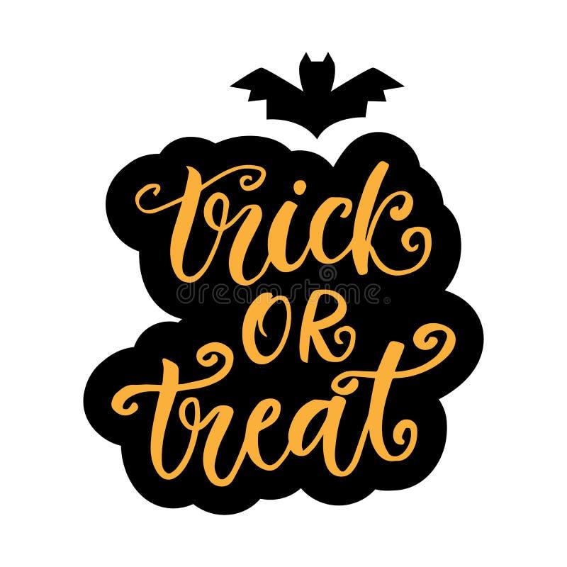 Trick oder Festlichkeit Halloween-Partei-Plakat mit handgeschriebener Tinten-Beschriftung vektor abbildung