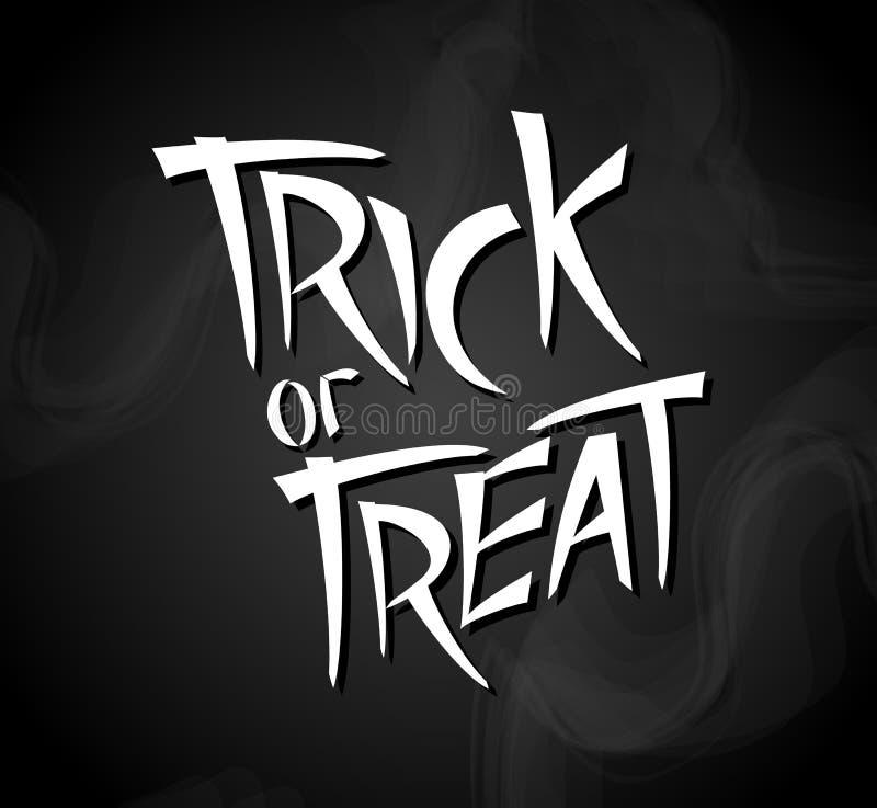 Trick oder Festlichkeit Halloween-Plakat mit Handbeschriftung vektor abbildung