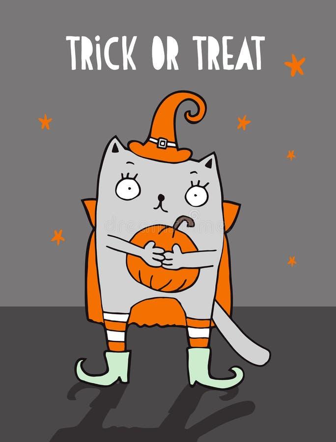 Trick oder Festlichkeit Lustige Halloween-Vektor-Illustration mit Hexen-Katze lizenzfreie abbildung