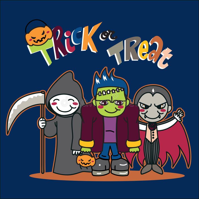 Trick or treat. Three young boys in costumes ready to go for trick or treat royalty free illustration