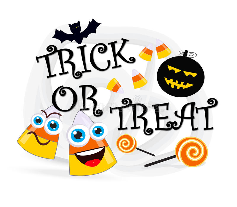 Trick or treat. Text with bat, pumpkin, sweets and candy cones vector illustration
