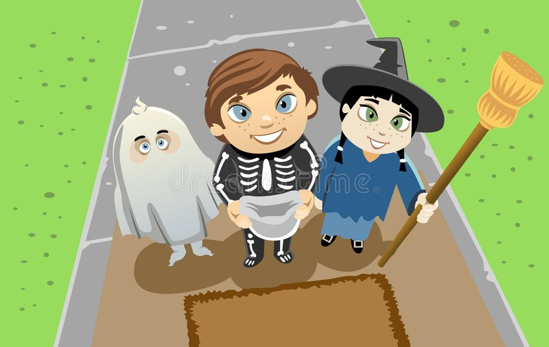 Trick or Treat. Illustration of three little kids dressed up in their Halloween costumes ready for a Trick or Treat game stock illustration