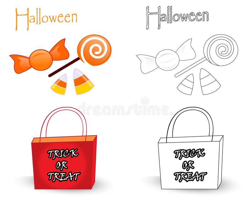 Trick or treat bag and candies stock images
