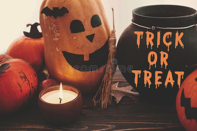Trick or Treat bloody text, Happy Halloween. Pumpkins, jack-o-lantern, witch cauldron, bats, spider, candle, autumn leaves on. Black wood in light. Halloween stock image