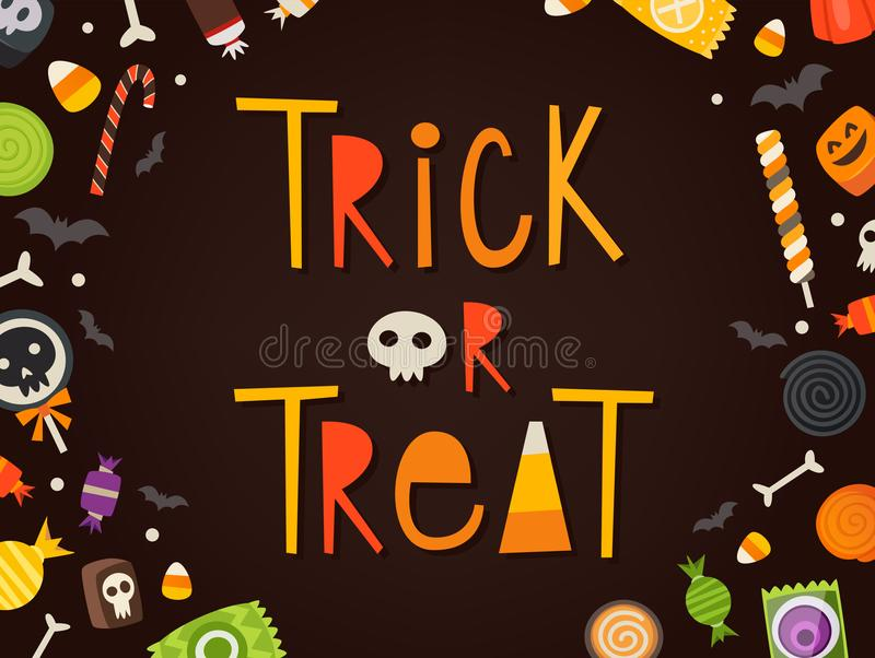 Trick or treat card. Trick or treat frase written in cartoonish characters framed by candies and sweets. Halloween vector card. Masked sweets can be used stock illustration