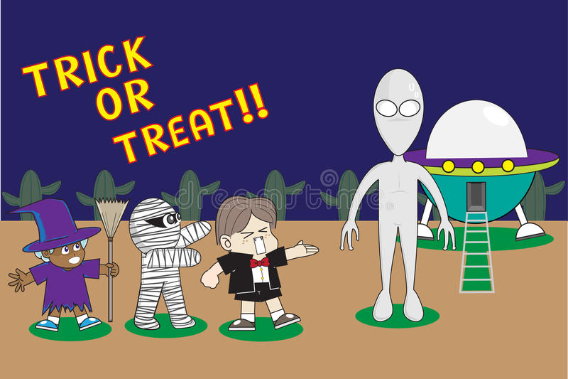Trick Or Treat : Children In Halloween Costumes Offer Trick Or Treat to the Alien royalty free stock photos