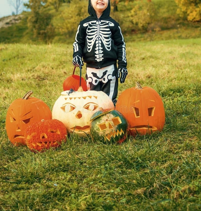 Girl among Halloween pumpkins Jack O'Lantern royalty free stock photography