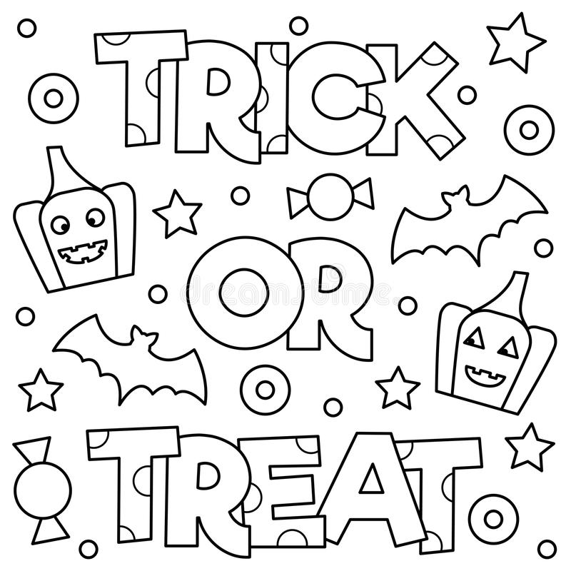 Trick Or Treat. Coloring Page. Vector Illustration. Stock Vector ...
