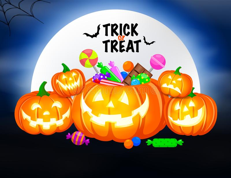 Halloween pumpkins with candies and moon on blue background. Trick or treat concept. Illustration design for greeting card, poster banner and print vector illustration