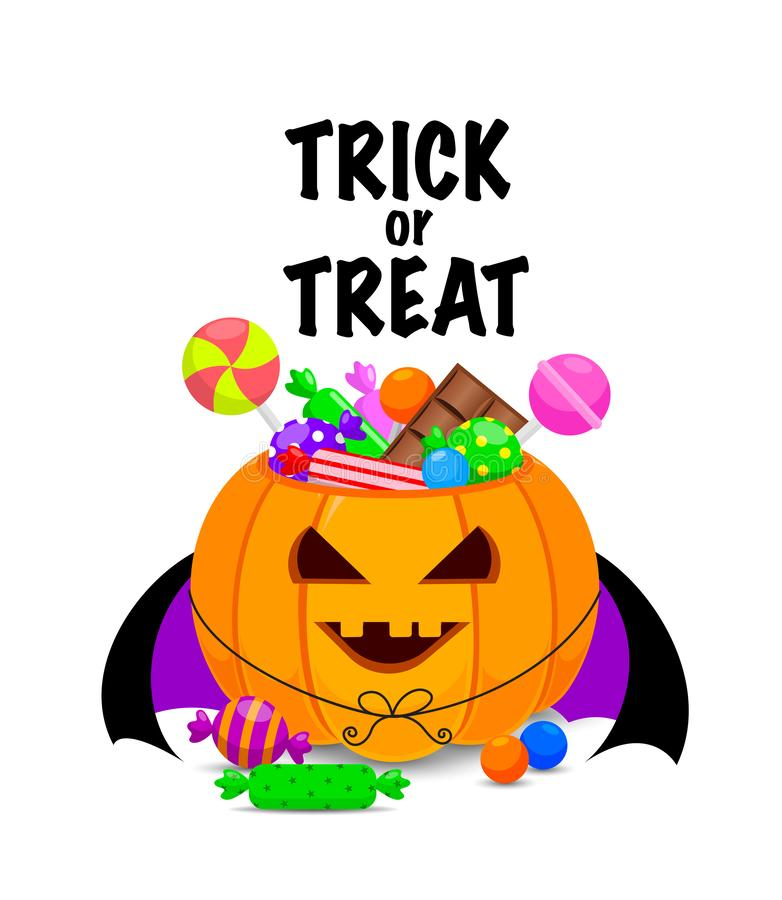 Halloween pumpkin bucket with candies. Trick or treat concept.  Sweet lollipop candy treats for kids. Illustration design for greeting card, poster banner and stock illustration