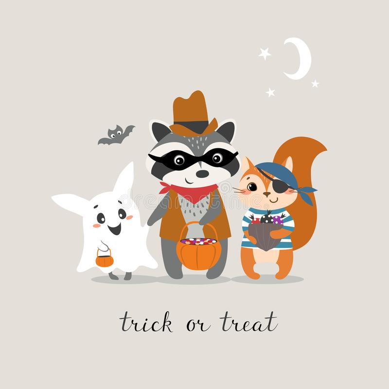 Trick or treat. Cute Halloween greeting card with funny little animals trick or treating vector illustration
