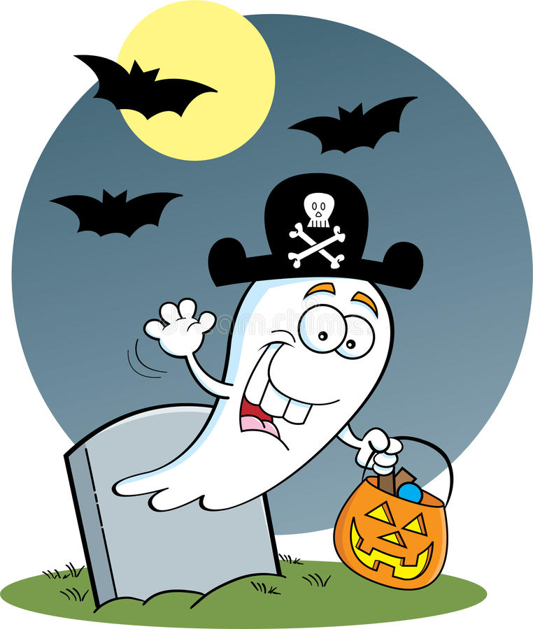 Download Trick or Treat Ghost stock vector. Image of funny, gravestone - 25983792