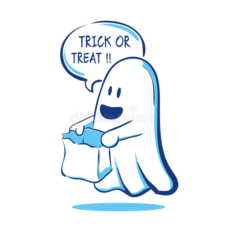 Trick or Treat Ghost. Vector illustration of a ghost saying trick or treat vector illustration