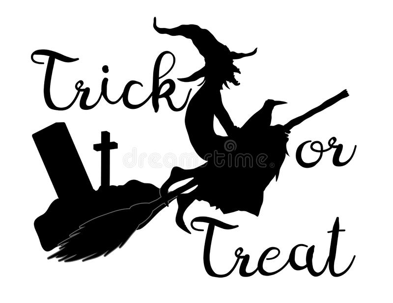 Trick or treat halloween background with flying witch vector illustration