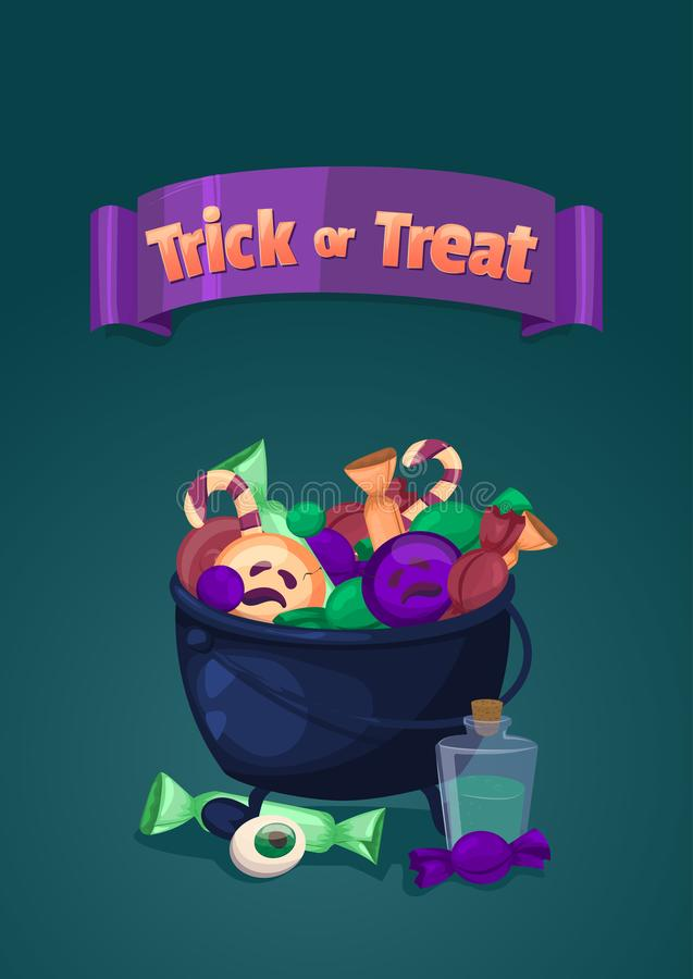 Trick or treat. Halloween banner. Cartoon illustration with magic cauldron and sweets. Trick or treat. Halloween banner. Vector illustration in cartoon style stock illustration