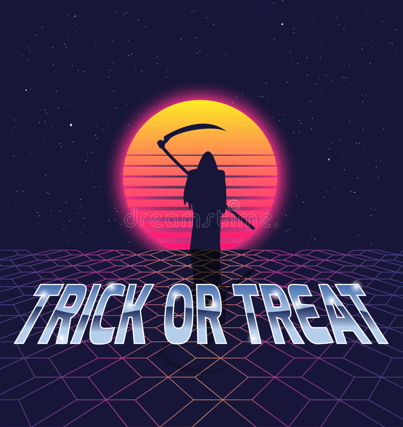 Trick or treat. Halloween card in the style of the eighties stock illustration