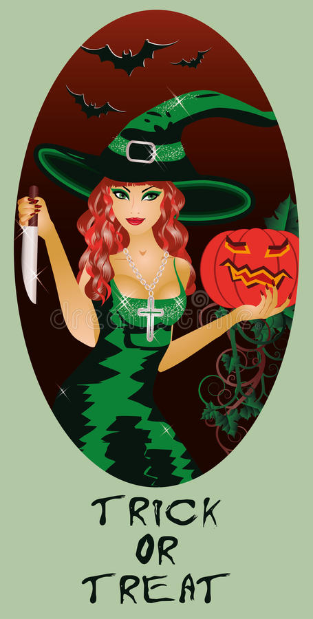 Trick Or Treat Halloween Card, Witch And Knife Royalty Free Stock Image