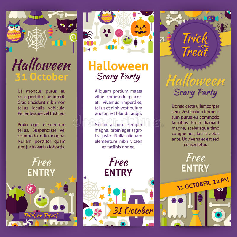 Trick Or Treat Halloween Party Invitation Vector Template Flyer