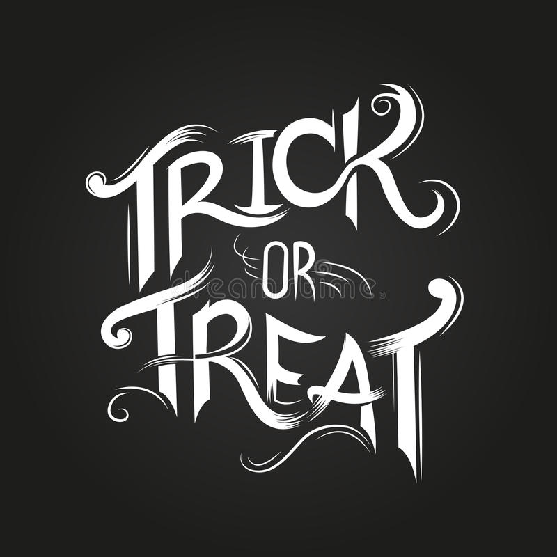 Trick Or Treat?. Trick or Treat Halloween poster design with hand drawn elements royalty free illustration