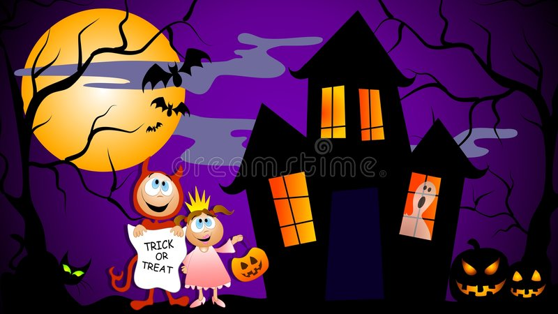 Trick or Treat Halloween Scene royalty free illustration