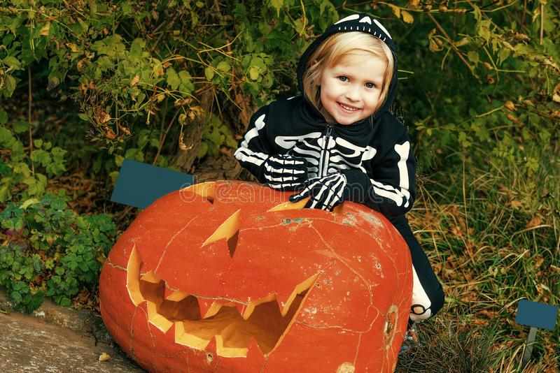 Happy child with huge Halloween pumpkin Jack O'Lantern. Trick or Treat. happy child wearing skeleton costume on Halloween outdoors with huge pumpkin Jack royalty free stock photos
