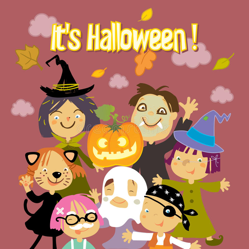 Trick or treat kids. Halloween kids trick or treat costumes vector illustration