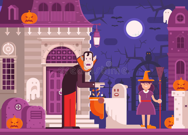 Trick or Treat Kids Halloween Background vector illustration
