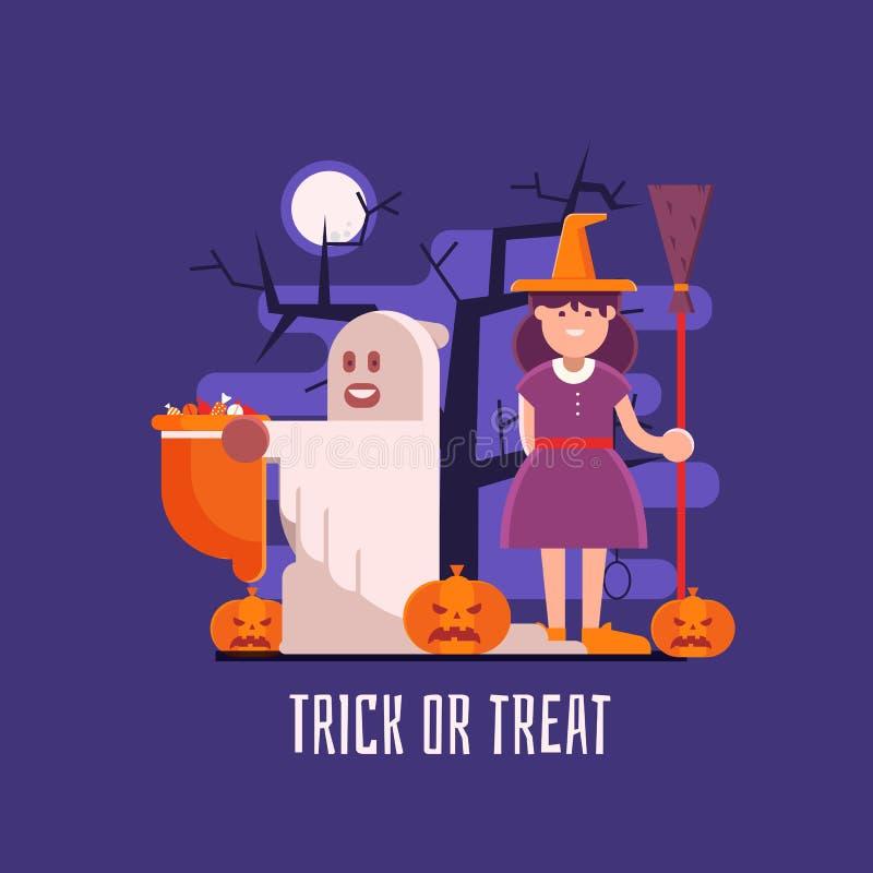 Trick or Treat Kids Halloween Card vector illustration