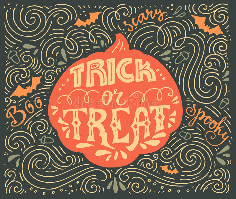 Trick-or-treat lettering. Trick or treat-inspirational quote. Vector art. Unique design element for housewarming poster or banner. Halloween series with vector illustration
