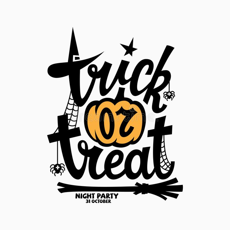 Trick or treat lettering. With a pumpkin for halloween party invitation, poster, banner, card. Vector illustration vector illustration
