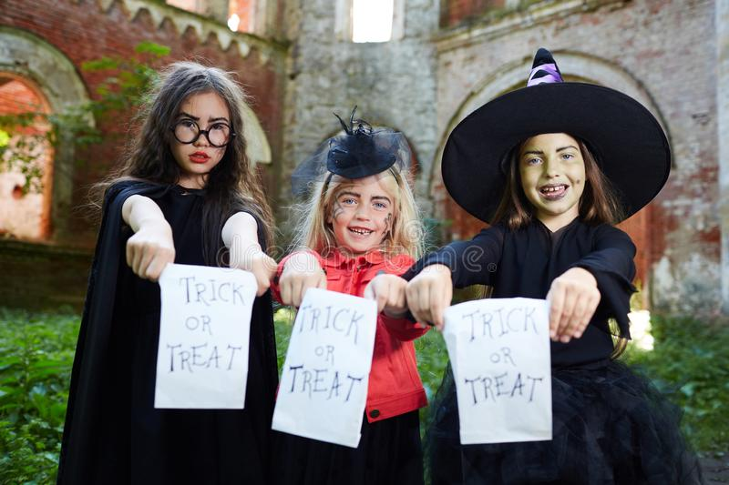 Trick or Treat. Portrait of three happy little witches looking at camera and holding Trick or Treat banners on Halloween , copy space stock photos