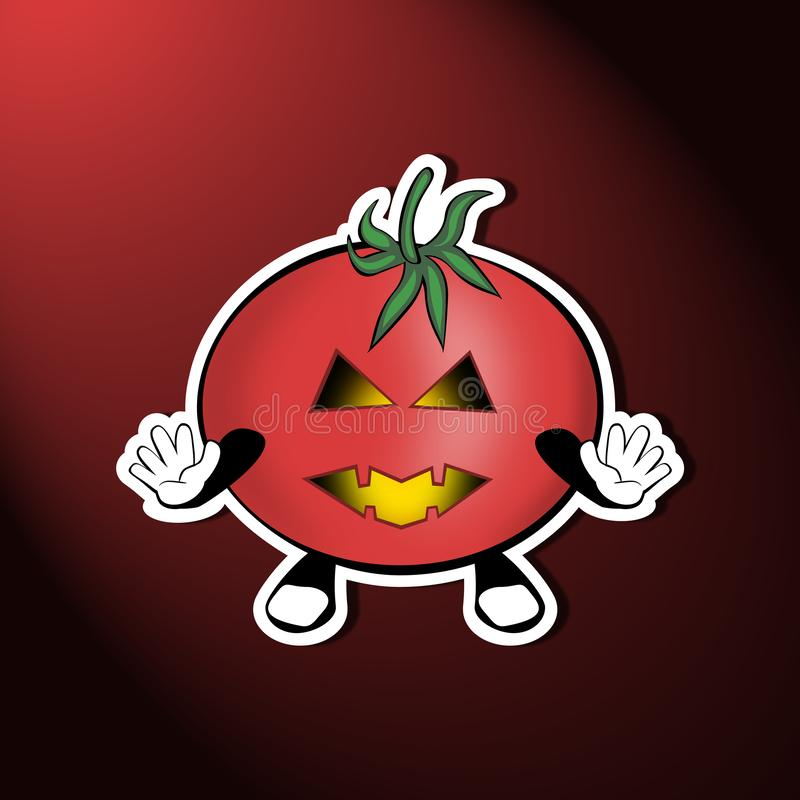 Trick or Treat scary tomato. Scary funny Halloween tomato on a nice background stock illustration