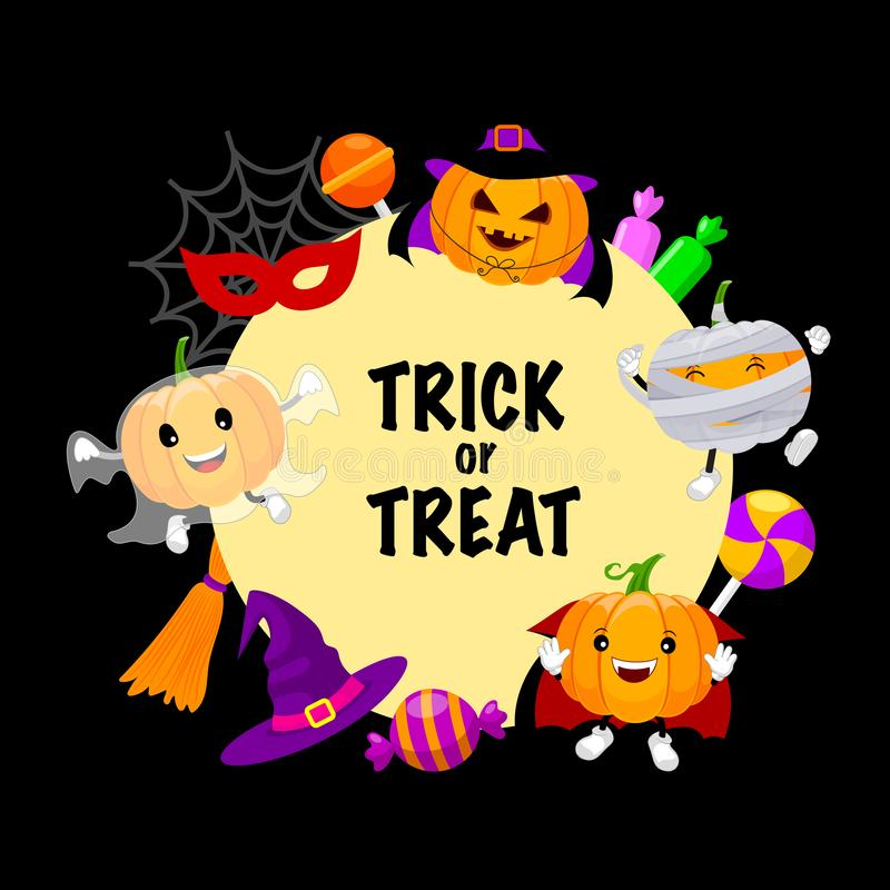 Trick or treat with set of cute cartoon pumpkin character. Happy Halloween day concept with mummy, witch, ghost and candy. Illustration on black background stock illustration