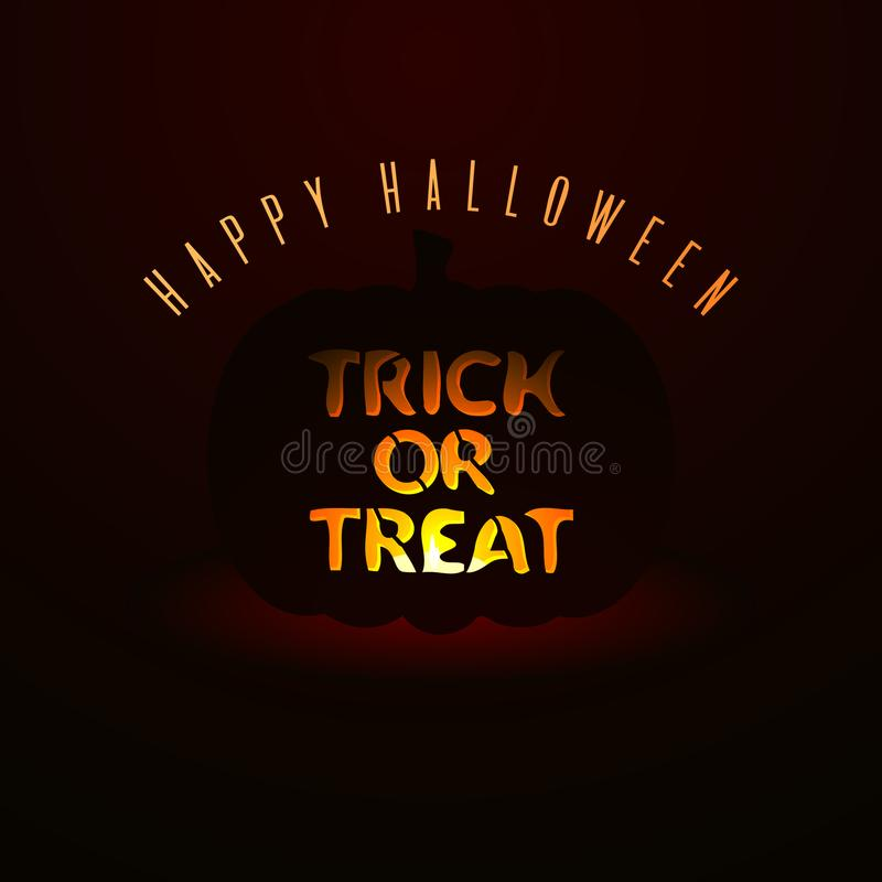 Trick or treat. Stylized Halloween lettering illustration. All Hallows` Eve card vector illustration
