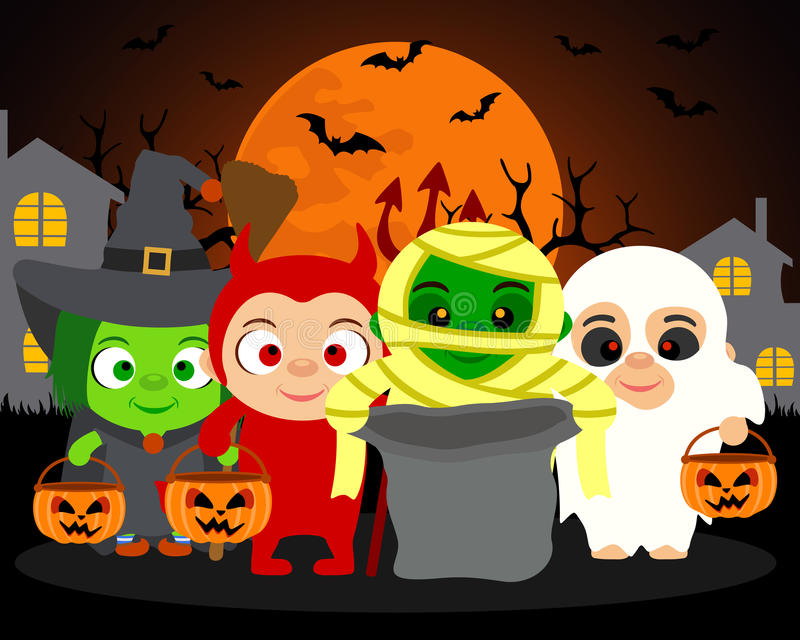 Trick or Treat ,vector Halloween background with kids. In Halloween costume stock illustration