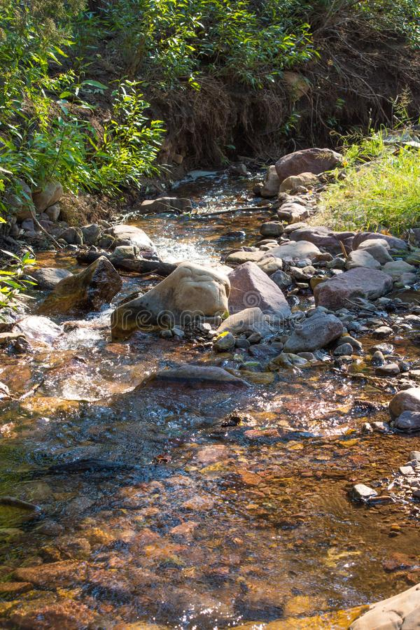 Mountain Trickling Stream Water Scene. Tricking water stream in the mountains, a summer scene stock photo
