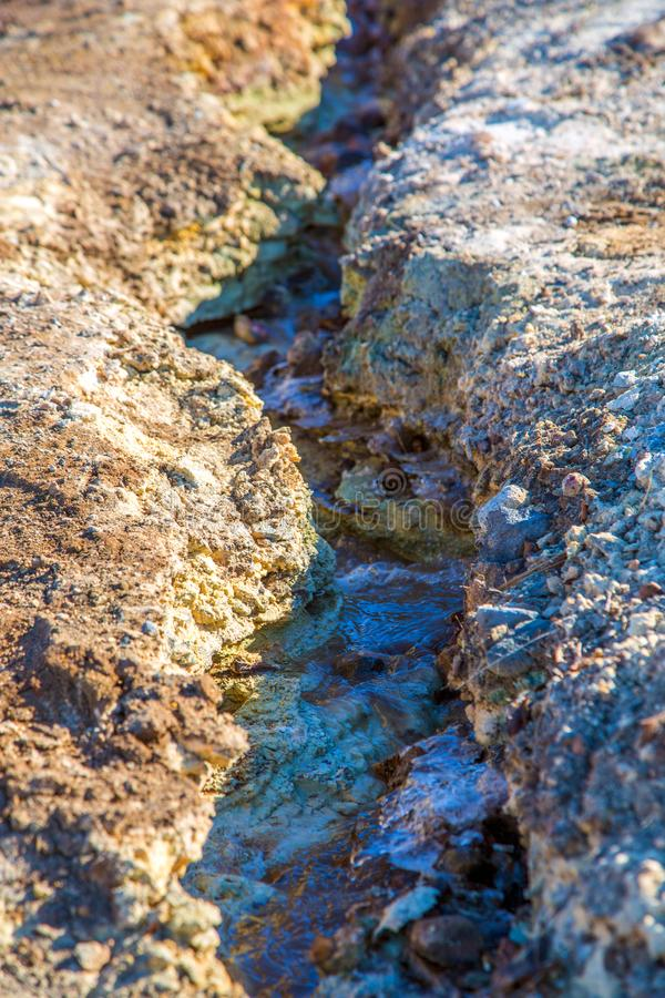 Trickle with colorful minerals in geothermal area. Trickle with colorful minerals in the geothermal area with hot water stock image