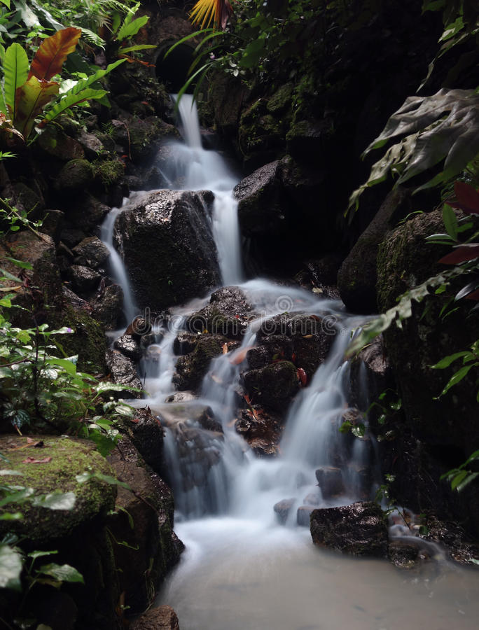 Trickle waterfall with silky flow effect, Tropical Spice Garden, Penang, Malaysia. Trickle waterfall with silky flow slow shutter effect, Tropical Spice Garden stock photography