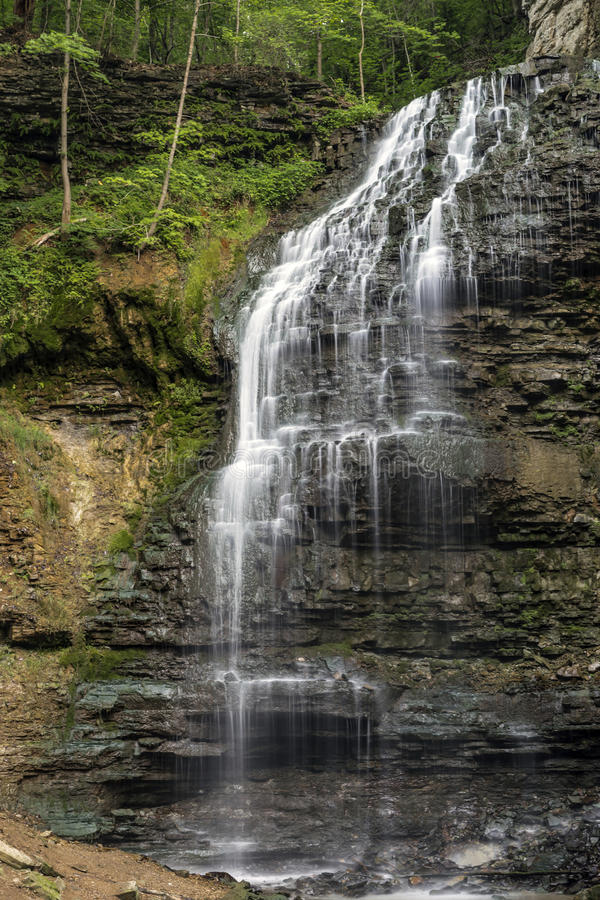 Trickling Flow. Delicate flow of Tiffany Falls in Ontario royalty free stock photography
