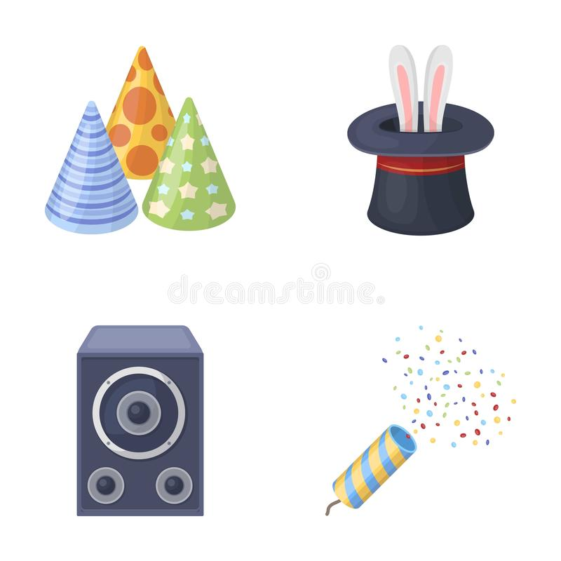 Tricks, music and other accessories at the party.Party and partits set collection icons in cartoon style vector symbol. Stock illustration vector illustration