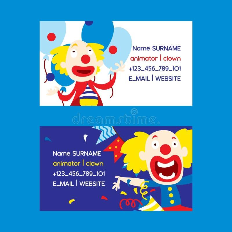 Trickzeichner- und Clownsatz der Visitenkartevektorillustration Lustige Charaktere und verschiedene Zirkuszusätze für stock abbildung